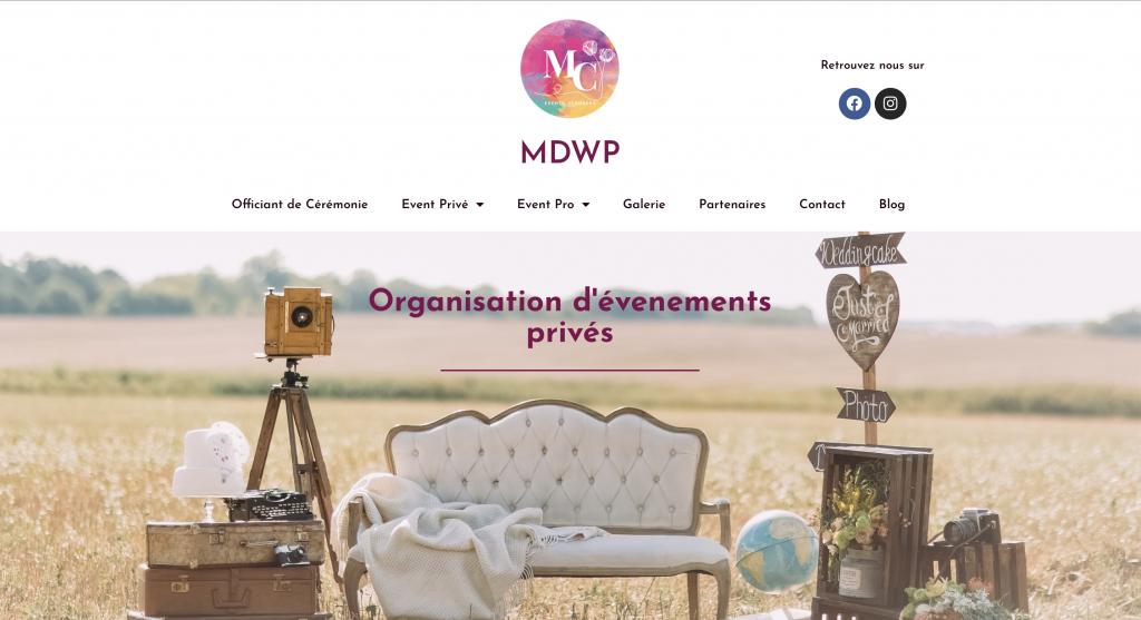 Capture de la page d'accueil du site de MDWP
