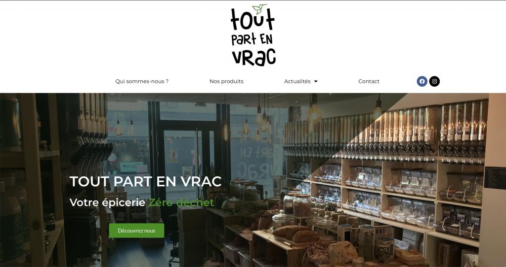Capture d'écran du site internet de Tout Part en Vrac