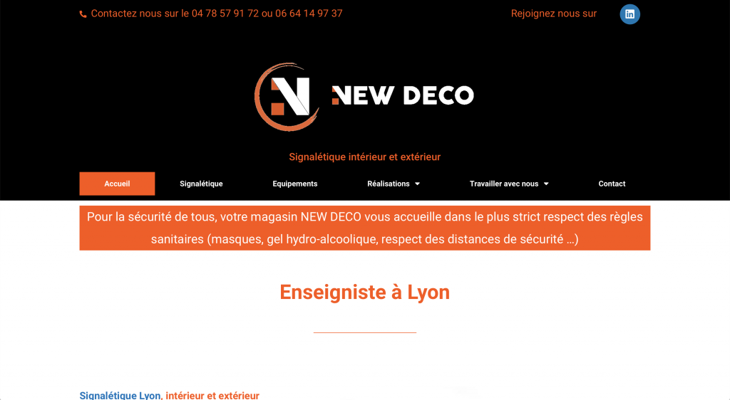 Capture du site internet de New Déco à Craponne